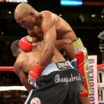 Chad Dawson picks up Bernard Hopkins and slams him to the canvas, ending their light heavyweight title bout. Photo: Getty Images