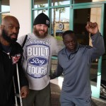 Trainer Jeff Mayweather(r) with Roy Nelson, & King Mo Lawal (l)